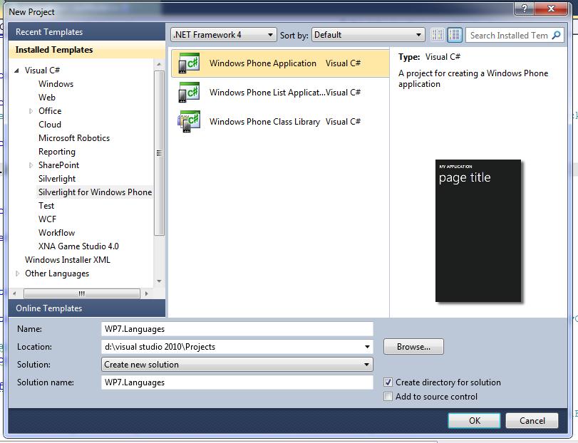 Create new C# WP7 app