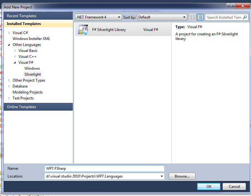 Select project type F# Silverlight project