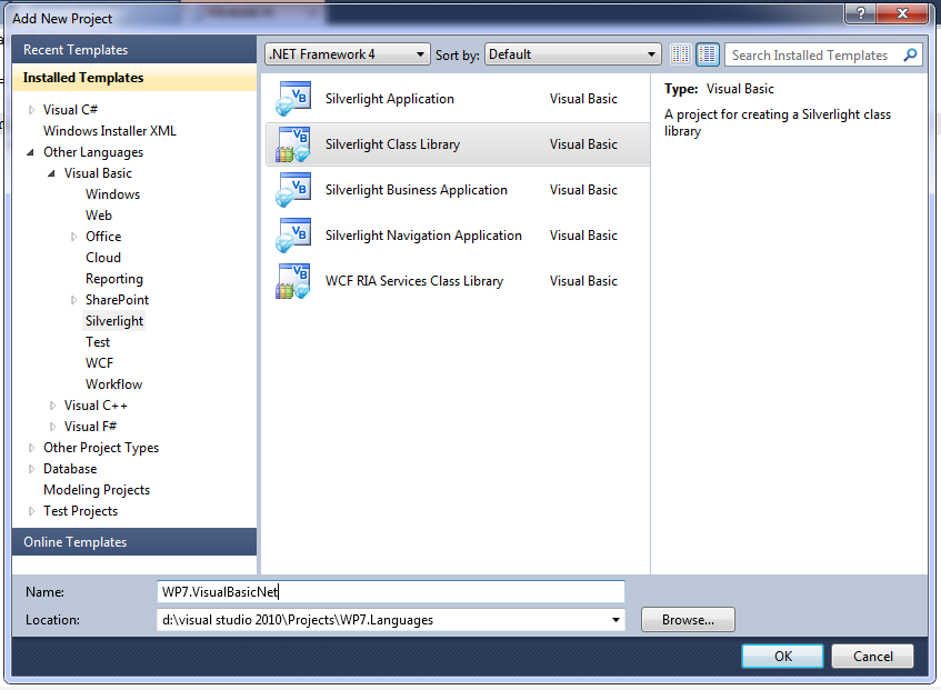 Select a Visual Basic Silverlight Class Library
