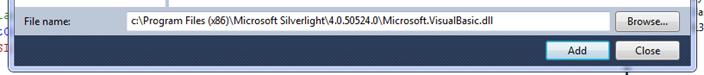 Adding a reference to  c:\Program Files (x86)\Microsoft Silverlight\4.0.50524.0\Microsoft.VisualBasic.dll